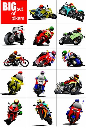 sports scooters - Big set of Bikers on the road. Vector illustration Stock Photo - Budget Royalty-Free & Subscription, Code: 400-05737061