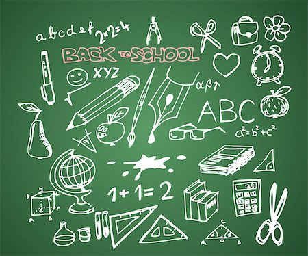 Back to school - set of school doodle vector illustrations on green blackboard Stock Photo - Budget Royalty-Free & Subscription, Code: 400-05737315