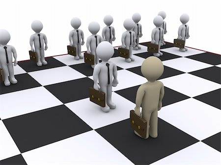 enemy - 3d businessmen as pawns on chessboard Stock Photo - Budget Royalty-Free & Subscription, Code: 400-05737882