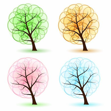 flower clipart paint - Set Tree with abstract leafs, element for design. Stock Photo - Budget Royalty-Free & Subscription, Code: 400-05737891