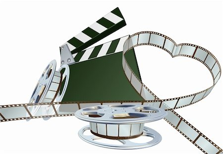 film strip - Film strip forming heart shape with clapper board and reels. Space for copy in the centre. Stock Photo - Budget Royalty-Free & Subscription, Code: 400-05738210