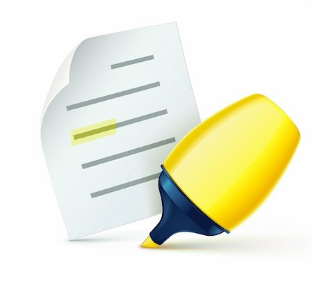 Vector illustration of cool fat yellow marker with office paper notes Stock Photo - Budget Royalty-Free & Subscription, Code: 400-05738229