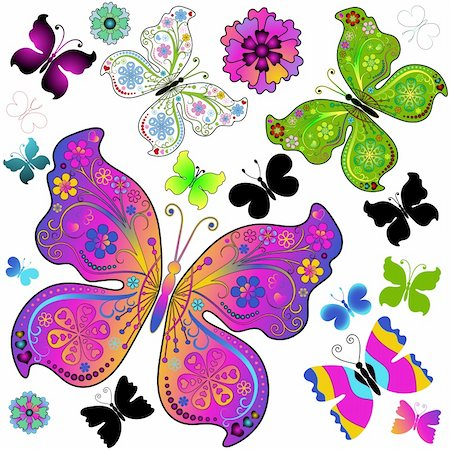 flower design with butterfly - Set colorful and black butterflies for design on white (vector) Stock Photo - Budget Royalty-Free & Subscription, Code: 400-05738464