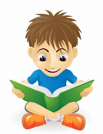 students learning cartoon - An illustration of a happy small boy smiling and reading a book Stock Photo - Budget Royalty-Free & Subscription, Code: 400-05739130