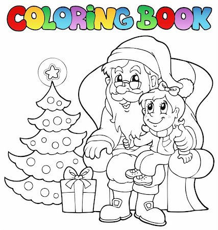 Coloring book Santa Claus theme 6 - vector illustration. Stock Photo - Budget Royalty-Free & Subscription, Code: 400-05739204