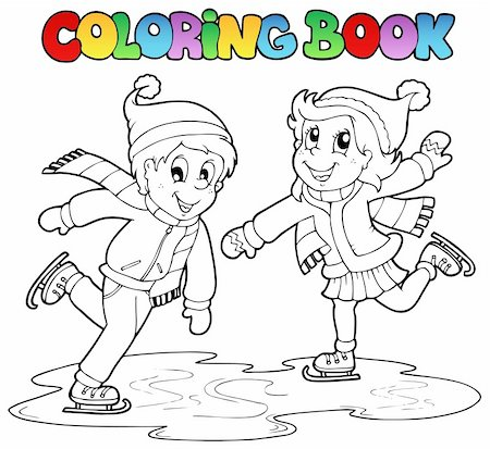 Coloring book skating boy and girl - vector illustration. Stock Photo - Budget Royalty-Free & Subscription, Code: 400-05739205