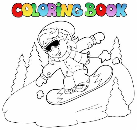 Coloring book girl on snowboard - vector illustration. Stock Photo - Budget Royalty-Free & Subscription, Code: 400-05739203