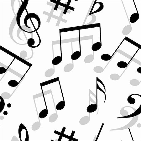 Music notes. Seamless wallpaper. Stock Photo - Budget Royalty-Free & Subscription, Code: 400-05739251