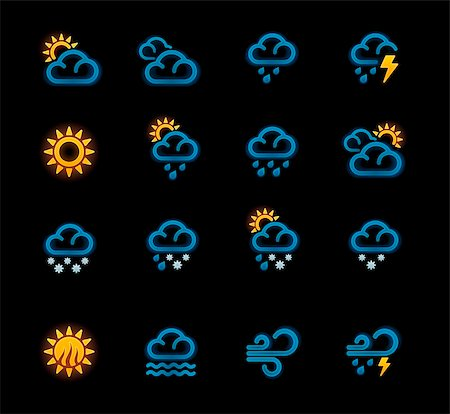 Set of the day weather forecast related pictograms with neon glow Stock Photo - Budget Royalty-Free & Subscription, Code: 400-05739419