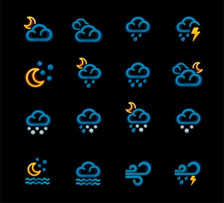 Set of the night weather forecast related pictograms with neon glow Stock Photo - Budget Royalty-Free & Subscription, Code: 400-05739420