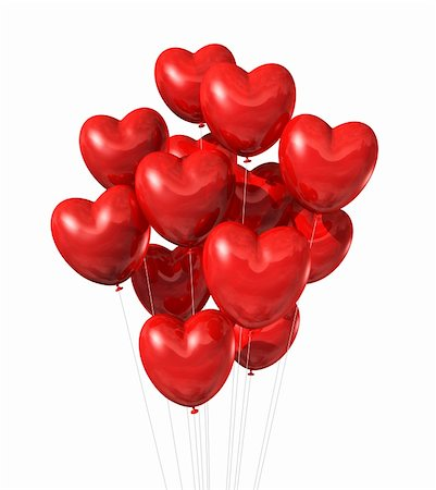 fly heart - red heart shaped balloons isolated on white. valentine's day symbol Stock Photo - Budget Royalty-Free & Subscription, Code: 400-05739443