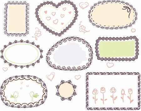 cute doodle floral vector frame set Stock Photo - Budget Royalty-Free & Subscription, Code: 400-05739475