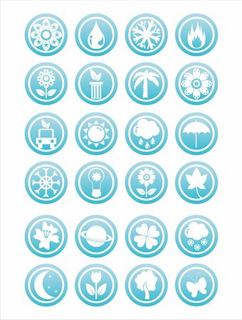 set of 21 blue nature signs Stock Photo - Budget Royalty-Free & Subscription, Code: 400-05739512