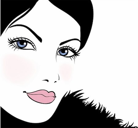 Portrait attractive beautiful girl wearing black fur, vector illustration Stock Photo - Budget Royalty-Free & Subscription, Code: 400-05739558