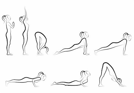 set of sun salutation yoga exercises,  vector illustration Stock Photo - Budget Royalty-Free & Subscription, Code: 400-05730223