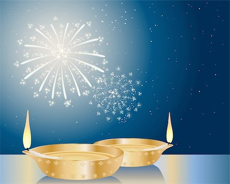 an illustration of two fancy diwali lamps under a starry sky with fireworks Stock Photo - Budget Royalty-Free & Subscription, Code: 400-05730772
