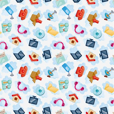 Icons for Cloud network ,seamless pattern Stock Photo - Budget Royalty-Free & Subscription, Code: 400-05730946