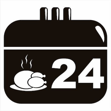 black thanksgiving day calendar icon Stock Photo - Budget Royalty-Free & Subscription, Code: 400-05731039