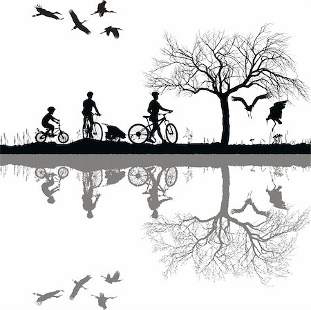 Illustration of a family on bicycles and their reflection in water Stock Photo - Budget Royalty-Free & Subscription, Code: 400-05732475