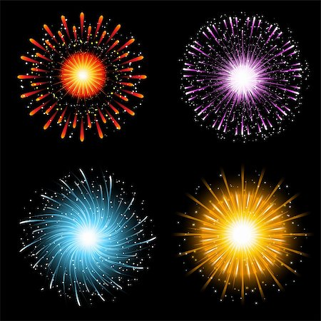 fireworks illustrations - A collection of four brightly coloured firework explosions Stock Photo - Budget Royalty-Free & Subscription, Code: 400-05732793