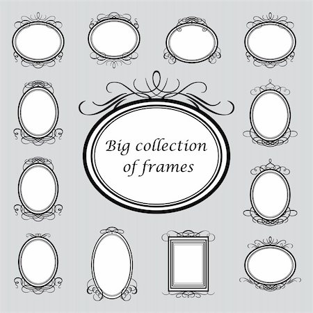 Big collection of of vintage frames. Vector template. Stock Photo - Budget Royalty-Free & Subscription, Code: 400-05733005