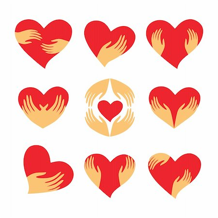 Сollection of signs - heart in his hands. Character - love, care, caring, loyalty and support. Vector set. Stock Photo - Budget Royalty-Free & Subscription, Code: 400-05733025