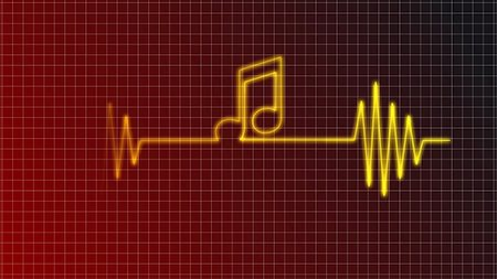 cardiogram curve with music note symbol - illustration Stock Photo - Budget Royalty-Free & Subscription, Code: 400-05733618