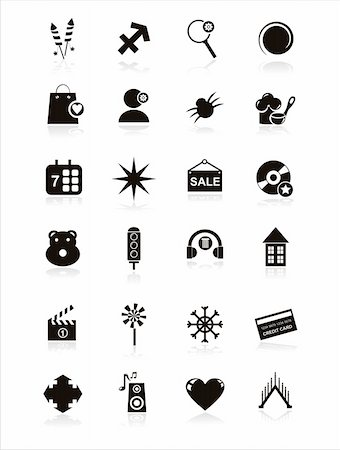 fireworks vector art - set of 21 black web icons Stock Photo - Budget Royalty-Free & Subscription, Code: 400-05733612