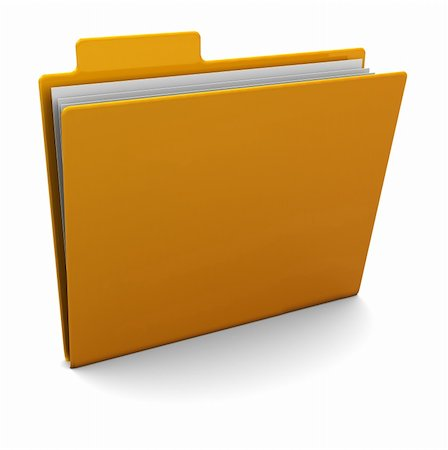 3d illustration of yellow folder with paper Stock Photo - Budget Royalty-Free & Subscription, Code: 400-05733739