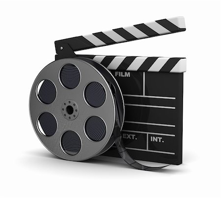 film strip - 3d illustration of cinema clap and film reel, over white background Stock Photo - Budget Royalty-Free & Subscription, Code: 400-05733743
