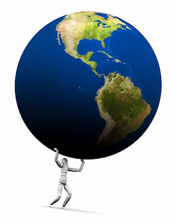High resolution raytraced 3D render of Earth globe being lifted by a mannequin. This is the Americas version. 3D illustration isolated on white background. Stock Photo - Budget Royalty-Free & Subscription, Code: 400-05744143
