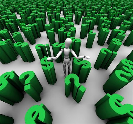 question mark crime - 3D render of confused mannequin standing in a sea of green question marks and $ dollar symbols. Stock Photo - Budget Royalty-Free & Subscription, Code: 400-05744164
