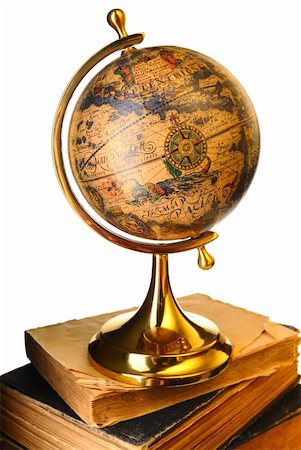 Antique globe on old books isolated over white Stock Photo - Budget Royalty-Free & Subscription, Code: 400-05744574