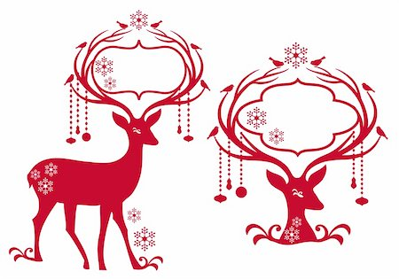 reindeer with blank christmas frame, vector background Stock Photo - Budget Royalty-Free & Subscription, Code: 400-05744866