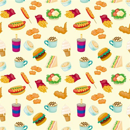 sandwich wrapper - seamless fast food pattern Stock Photo - Budget Royalty-Free & Subscription, Code: 400-05745147