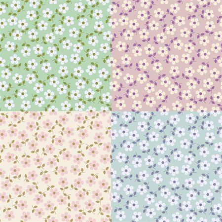 Set of Flower seamless patterns. Illustration for design Stock Photo - Budget Royalty-Free & Subscription, Code: 400-05745651
