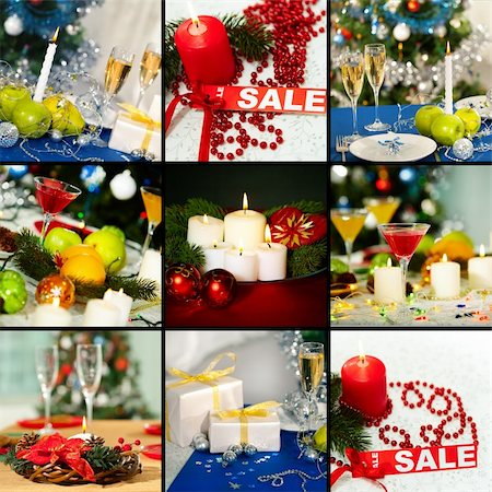 simsearch:400-05749231,k - Collage of holiday objects on Christmas table Stock Photo - Budget Royalty-Free & Subscription, Code: 400-05745853