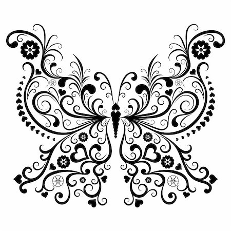 elegant wedding floral graphic - Vintage black valentine butterfly isolated on white background (vector) Stock Photo - Budget Royalty-Free & Subscription, Code: 400-05745977
