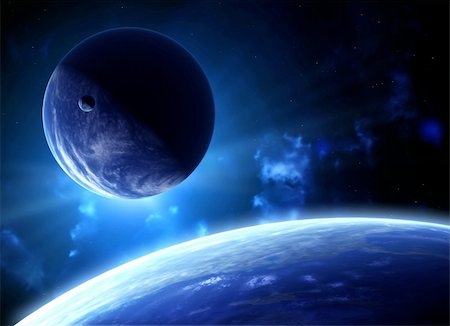 A beautiful space scene with planets and nebula Stock Photo - Budget Royalty-Free & Subscription, Code: 400-05746079