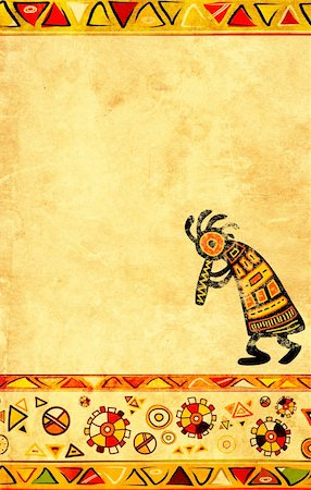 Dancing musician. African traditional patterns Stock Photo - Budget Royalty-Free & Subscription, Code: 400-05746080