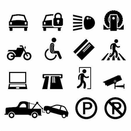 A set of car park reminder and information icons. Stock Photo - Budget Royalty-Free & Subscription, Code: 400-05746569
