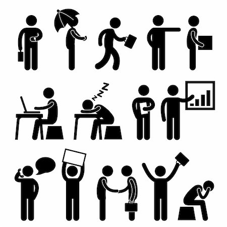 A set of pictogram showing people at work. Stock Photo - Budget Royalty-Free & Subscription, Code: 400-05746563