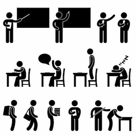 A set of human figure and pictogram showing scenarios in a school. Stock Photo - Budget Royalty-Free & Subscription, Code: 400-05746579