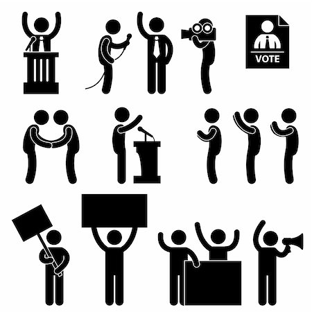 report icon - A set of people pictogram representing politician, reporter, supporters, government, citizens, and protesters. Stock Photo - Budget Royalty-Free & Subscription, Code: 400-05746591