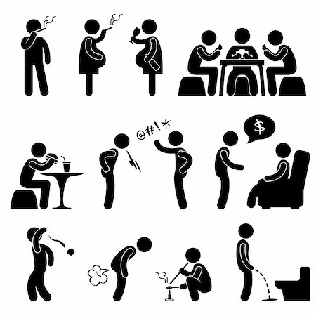 A set of pictogram about people bad behavior and habit. Stock Photo - Budget Royalty-Free & Subscription, Code: 400-05746611