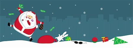 Singing Santa with lipstick marks, money and bottle lost his sack with toys. Vector Stock Photo - Budget Royalty-Free & Subscription, Code: 400-05746938