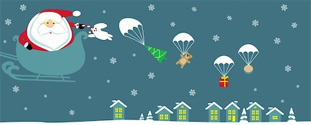 Cartoon Santa with bell in sleight dropping presents with parachutes. Vector Stock Photo - Budget Royalty-Free & Subscription, Code: 400-05746945
