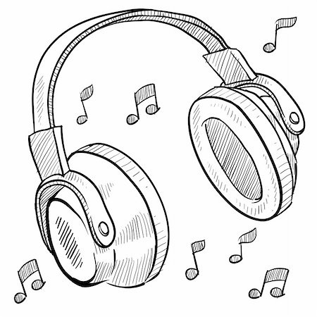 Doodle style headphones vector illustration with musical notes Stock Photo - Budget Royalty-Free & Subscription, Code: 400-05747670
