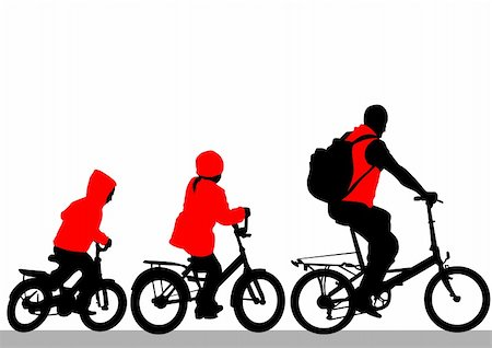 Vector drawing silhouette of a cyclist family Stock Photo - Budget Royalty-Free & Subscription, Code: 400-05747698