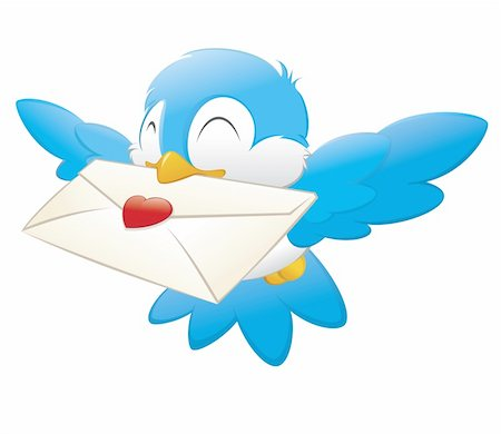 flying hearts clip art - Vector illustration of a blue bird delivering love letter Stock Photo - Budget Royalty-Free & Subscription, Code: 400-05747981